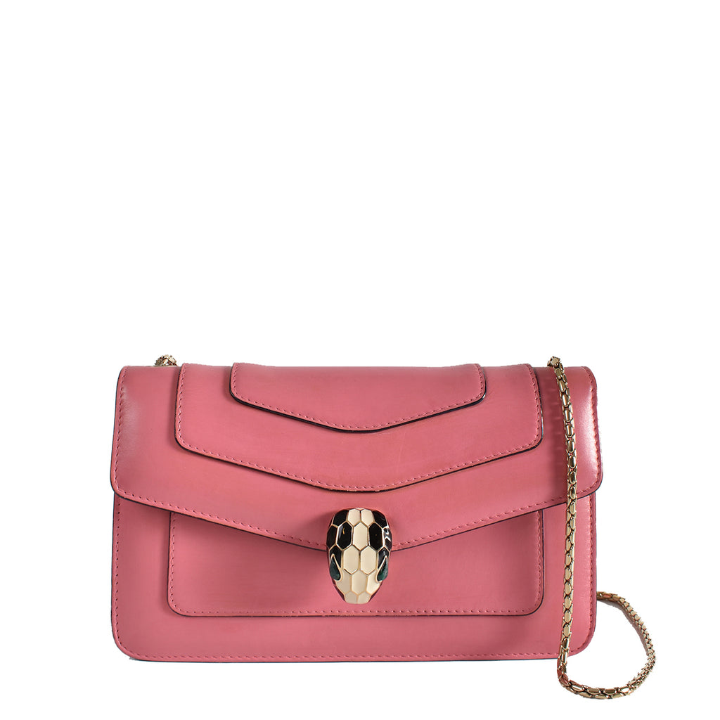 Bvlgari Leather Serpenti Forever Shoulder Bag in Pink