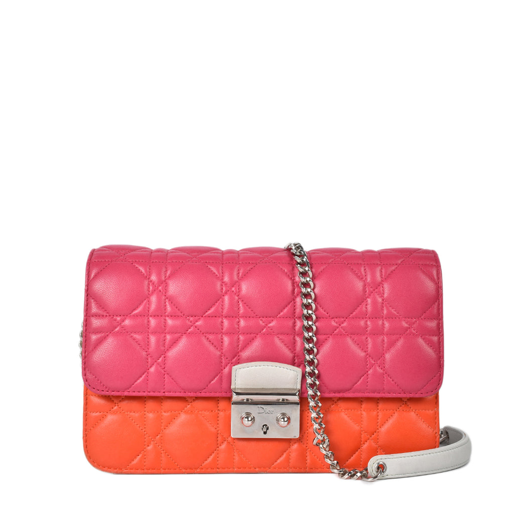 Dior Fuchsia/Orange Lambskin Miss Dior Promenade Flap Bag 24-MA-0115