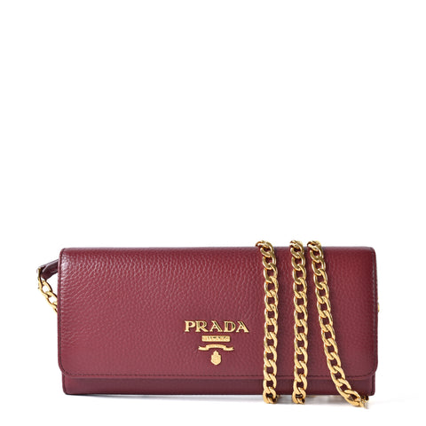 Prada Baltico Saffiano Lux Leather Wallet on Chain Clutch Bag 1BP290 in Red