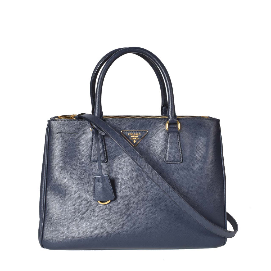 Prada Dark Blue Saffiano Lux Leather Medium Double Zip Tote Bag