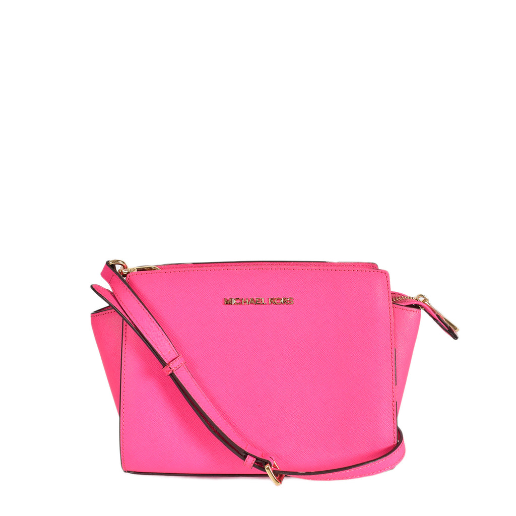 Michael Kors Selma Pink Saffiano Leather Cross Body Bag
