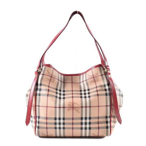 Burberry Red Canterbury Haymarket Large Tote Bag