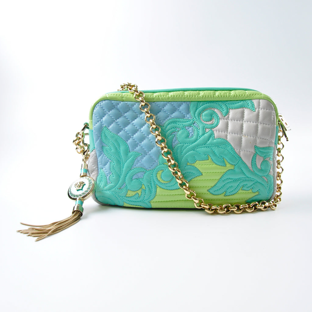 Versace Quilted Leather Shoulder Bag Green, Grey, Blue GHW