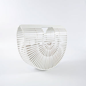 Small White Rattan Arc Bag