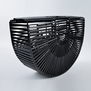 Large Black Rattan Arc Bag