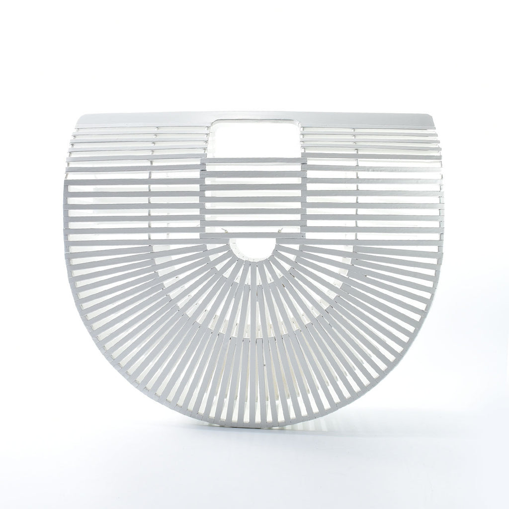 Large Rattan Arc Bag in White