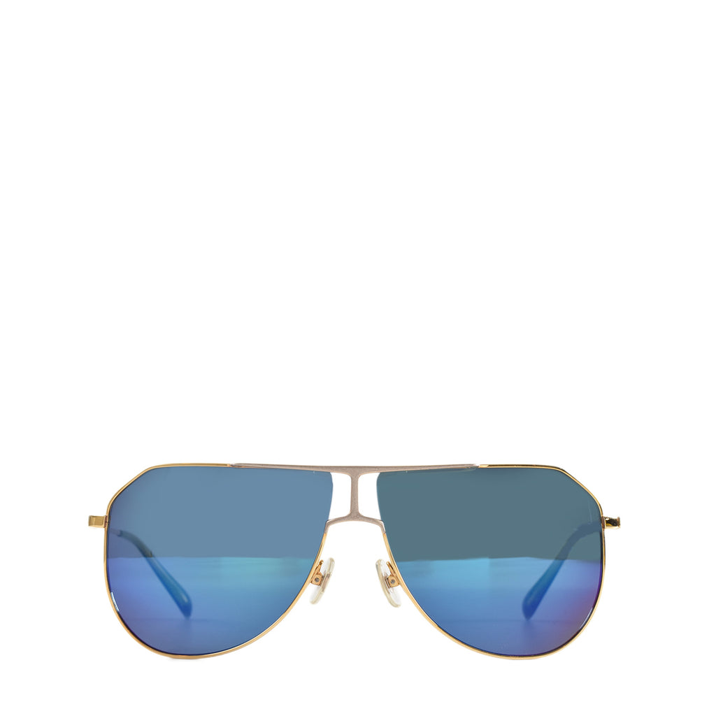 Loree Rodkin Eye Couture by Sama Sunglasses with Blue Gradient Gold Frames