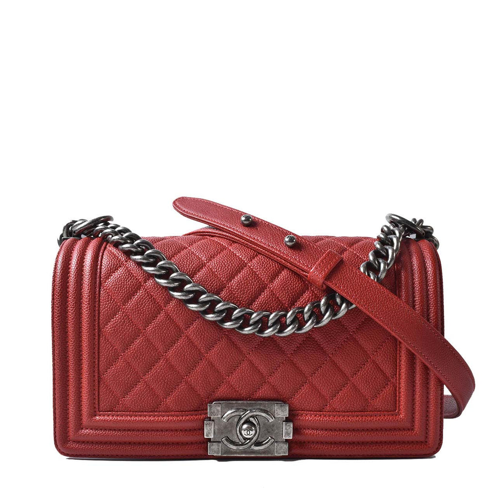 Chanel Quilted Caviar Red Leather Medium Boy Flap Bag