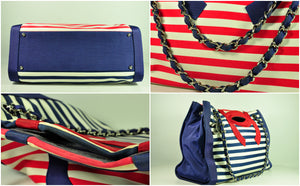 Cruise Collection 2010 Canvas Red / White / Blue Striped Tote Bag SHW