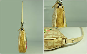 Coated Canvas Embroided Flowers Small Saddle Bag in Beige