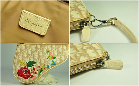 Dior Coated Canvas Embroided Flowers Small Saddle Bag in Beige