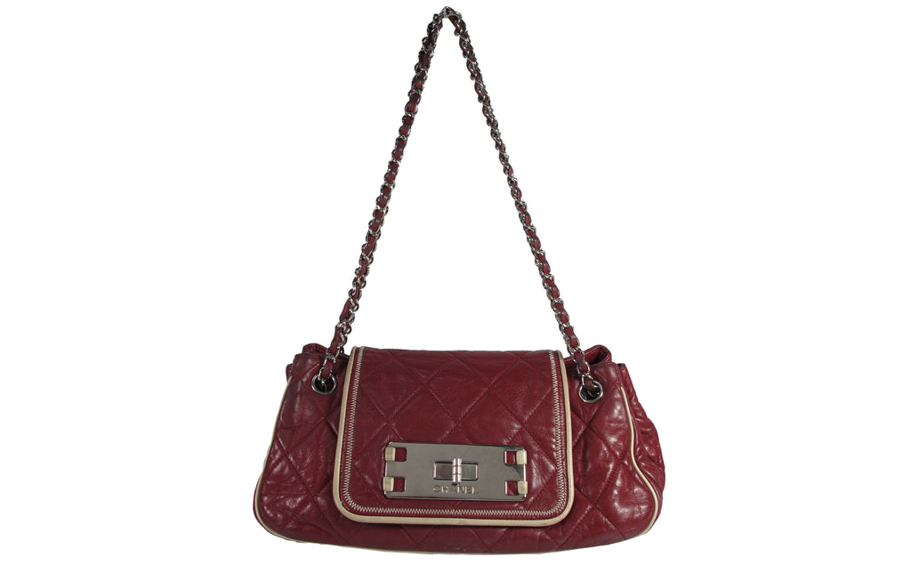 Chanel East West Accordion Medium Flap Bag Quilted Red Leather - Glampot 69beedb37fc8c