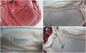 Chanel East West Accordion Medium Flap Bag Quilted Red Leather - Glampot