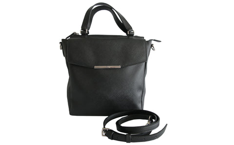 Black Saffiano Leather Tote with Sling - Glampot