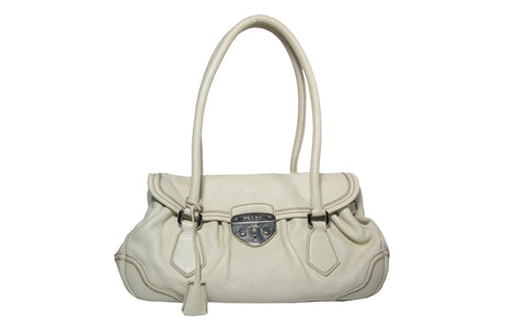 BR3474 Bianco Deerskin Pushlock Shoulder Bag - Glampot