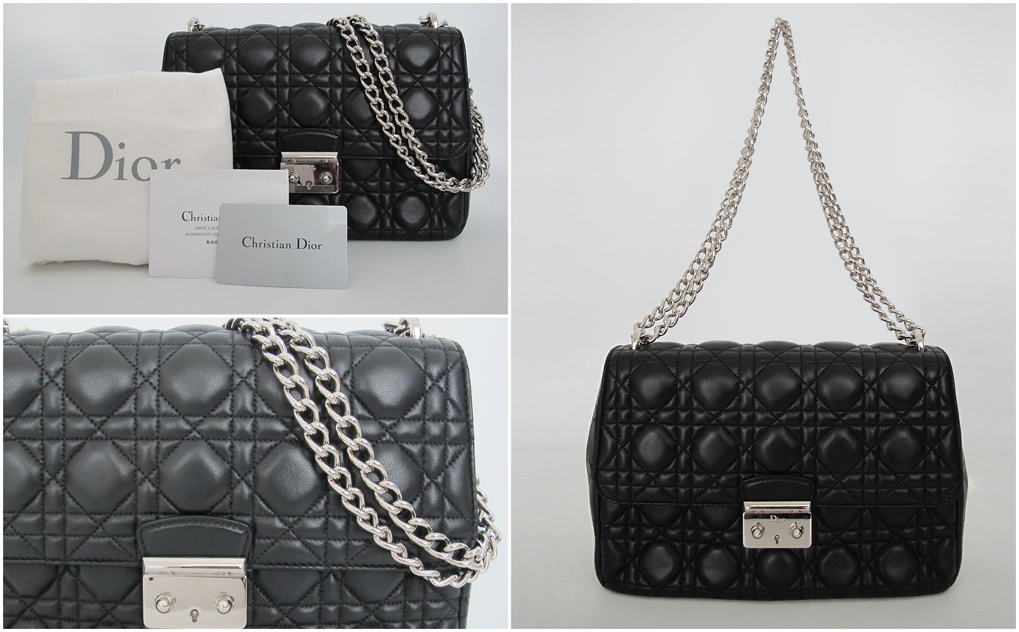 Miss Dior Large Bag Leather in Black