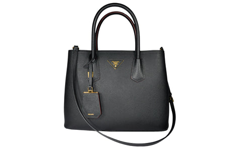 BN2775 Saffiano Cuir Leather Tote in Black - Glampot