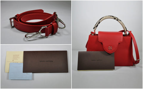 N92803 Capucines PM Taurillon Leather in Rubis & Python Handle