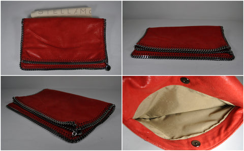 Shaggy Deer Fold Over Clutch in Red