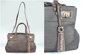 Ferragamo Brown Leather 2 Way Belted Satchel