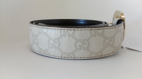 Gucci Guccissima Belt with Interlocking G Leather Off Cream 114876 479610 05 34 - Size 90/36