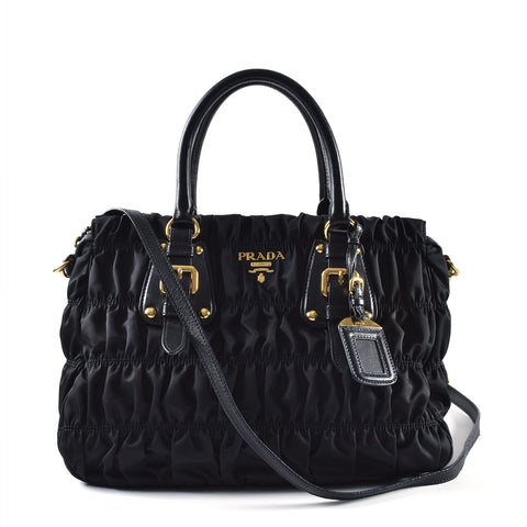 Prada 1BA336 Black Nylon Gaufre 2 Way Zipped Tote