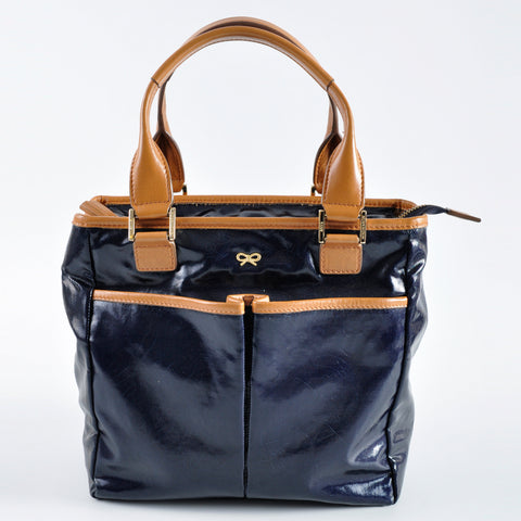Anya Navy Patent Tote with Brown Leather Handles - Glampot