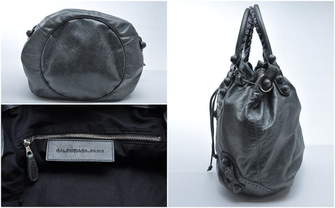 Balenciaga Covered Giant Pompon Bag in Anthracite - Glampot
