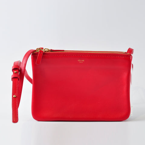 Céline Red Lambskin Leather Trio Crossbody Bag - Glampot