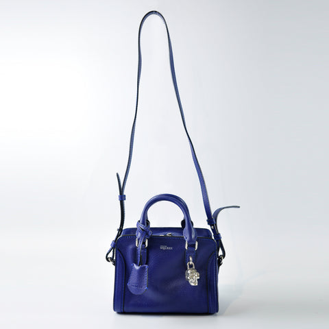 Alexander McQueen Mini Padlock Satchel Bag in Blue - Glampot