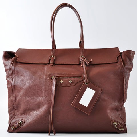Balenciaga Papier Brown Tote Bag - Glampot