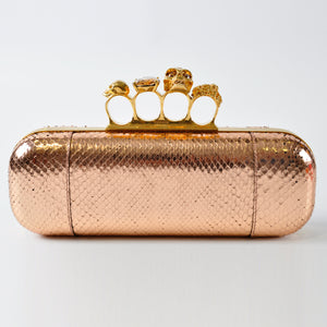 Alexander McQueen Gold Foil Python Knuckle Box Clutch Bag - Glampot