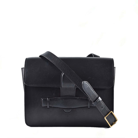 Céline Medium Symmetrical Black Leather Double Flap Cross Body U-LA-0185