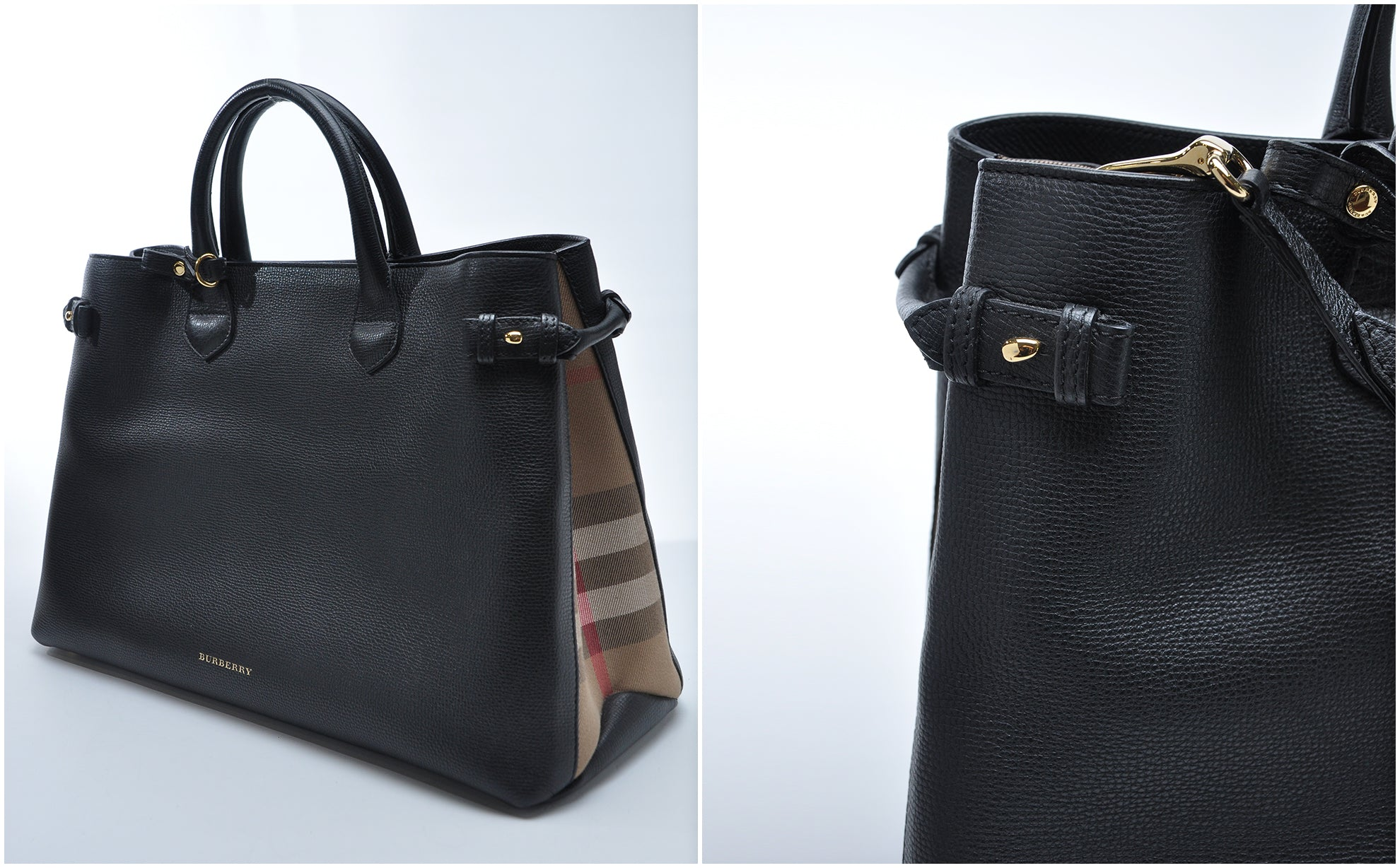 Large Banner Leather Tote in Black