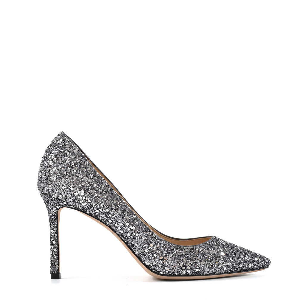 Jimmy Choo Star Glitter Romy 85 Pumps in Gunmetal