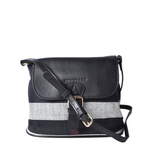 Burberry House Check Grainy Calfskin Small Gowan Messenger Bag Black and White