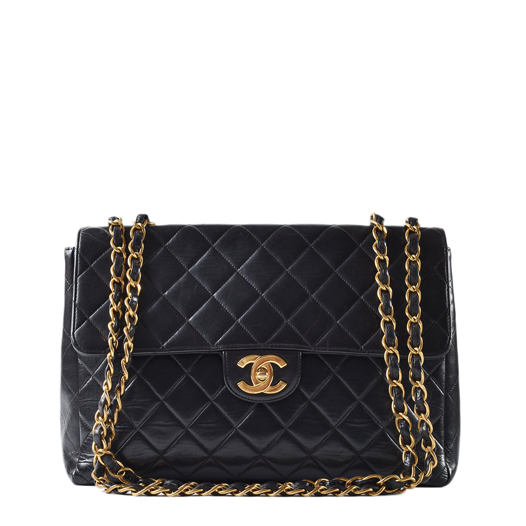 Chanel Black Quilted Lambskin Leather Classic Maxi Jumbo XL Flap Bag GHW