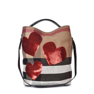 Burberry Ashby Medium Sequin Heart & House Check Bucket Bag