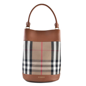 Burberry House Check Smooth Leather Bucket in Light Toffee - Glampot