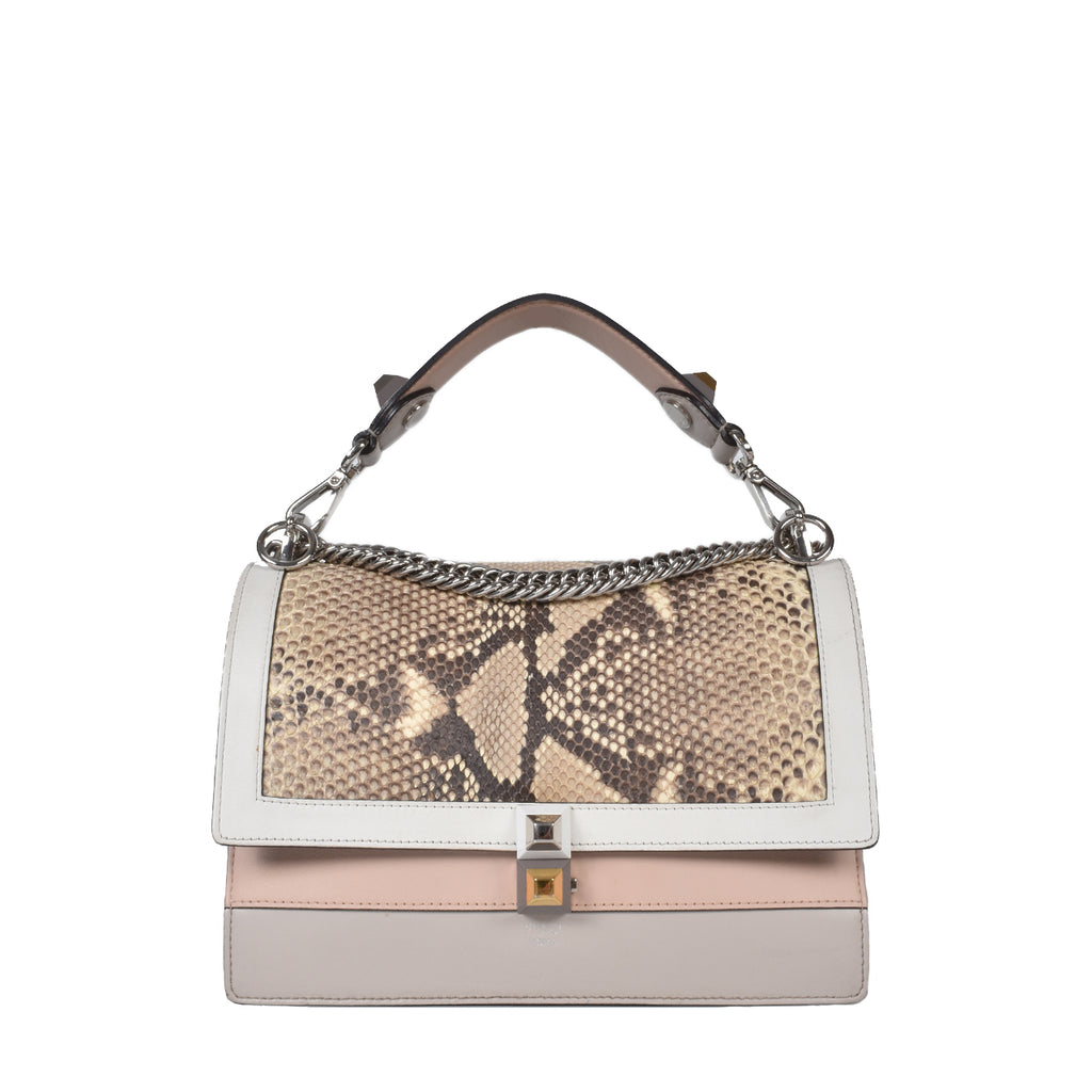 Fendi Medium Kan I Python & Leather Multicolour Shoulder Bag