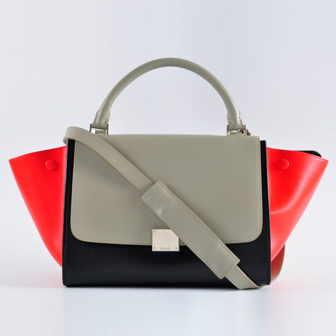 Céline Small Trapeze Tricolour Red Black Grey Smooth Leather U VP 0186 U MM 1105 - Glampot