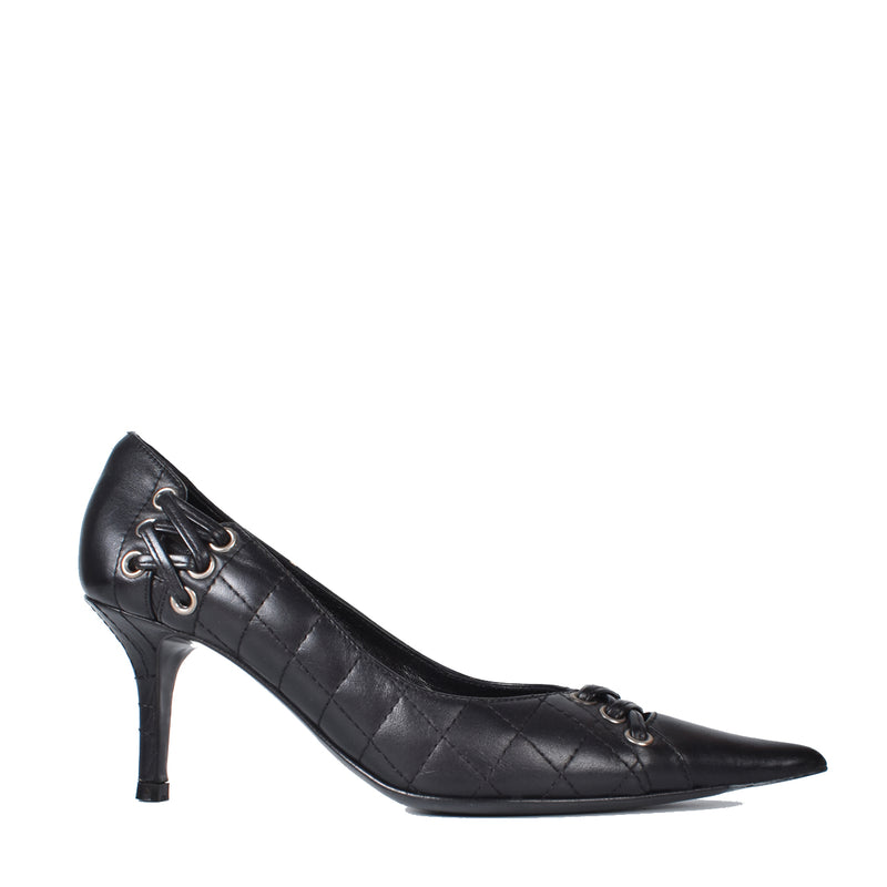 Christian Dior Black Quilted Cannage Pointed Toes Pumps
