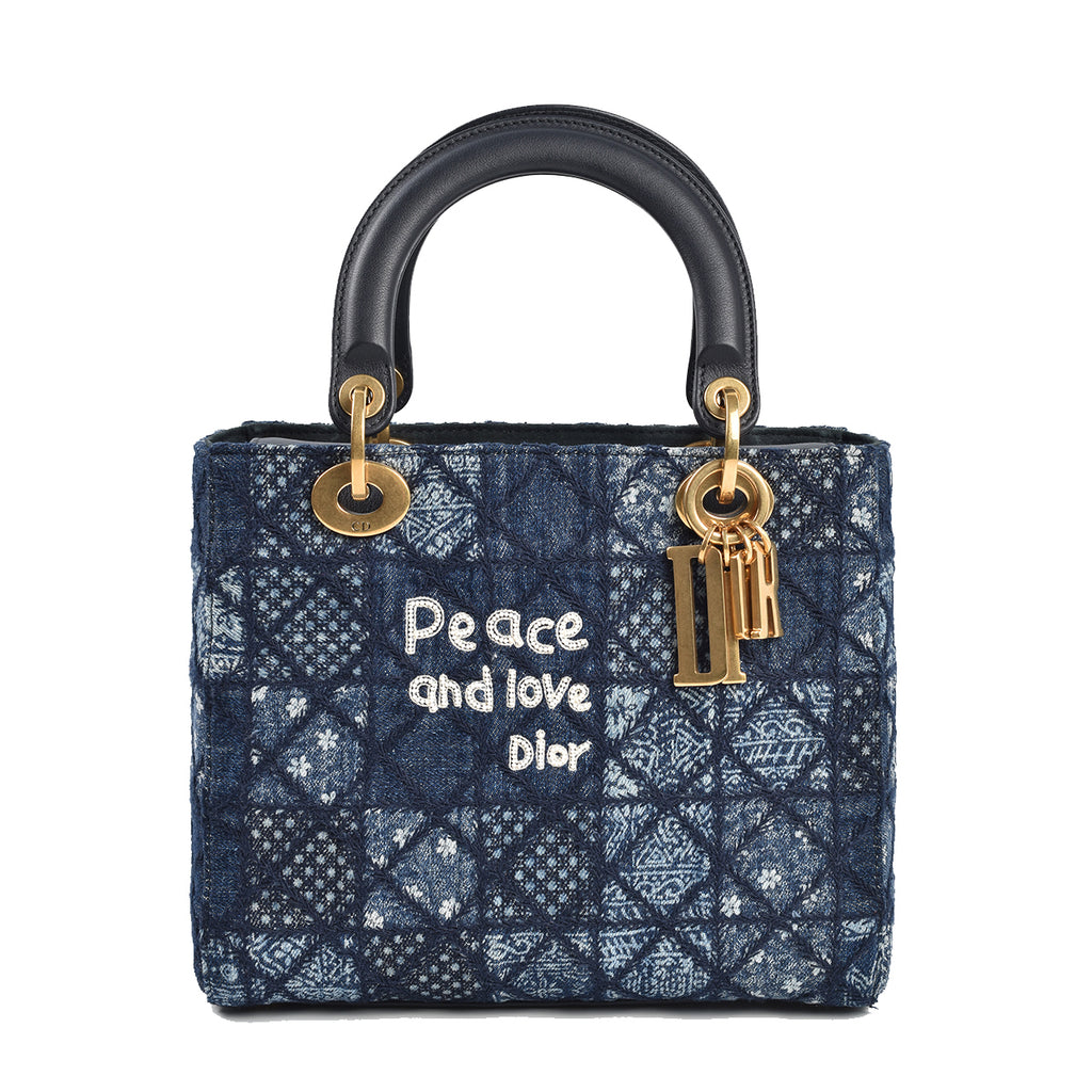 Christian Dior 2018 Medium Lady Dior Patchwork Denim 'Peace & Love' 02-MA-0178