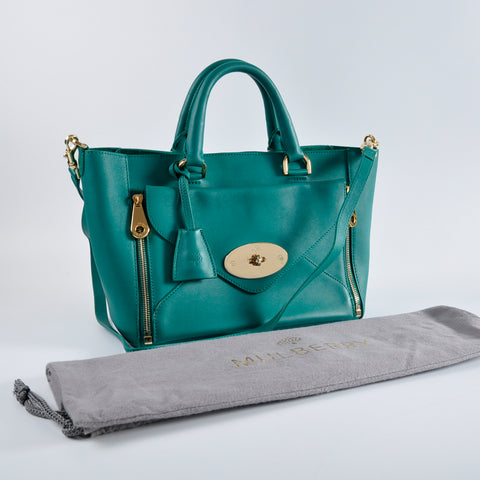 Mulberry Emerald Green Leather Willow Tote Bag