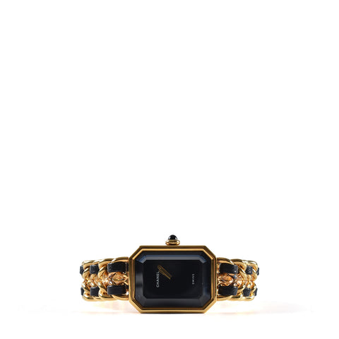 Chanel Black Leather Gold Plated Premiere Ladies Watch - Glampot
