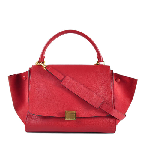 Celine Trapeze Red Leather Gold Hardware