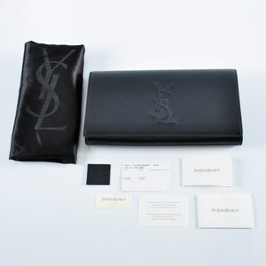 YSL 361120 Leather Large Belle De Jour Black Clutch