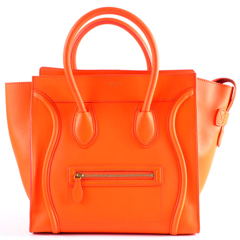 Céline Mini Luggage in Orange Smooth Calf Leather and GHW - Glampot