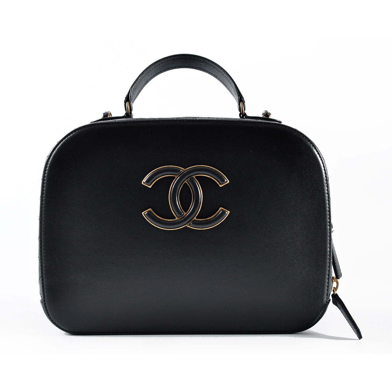 Chanel Black Crossbody Satchel in Gold Hardware - Glampot