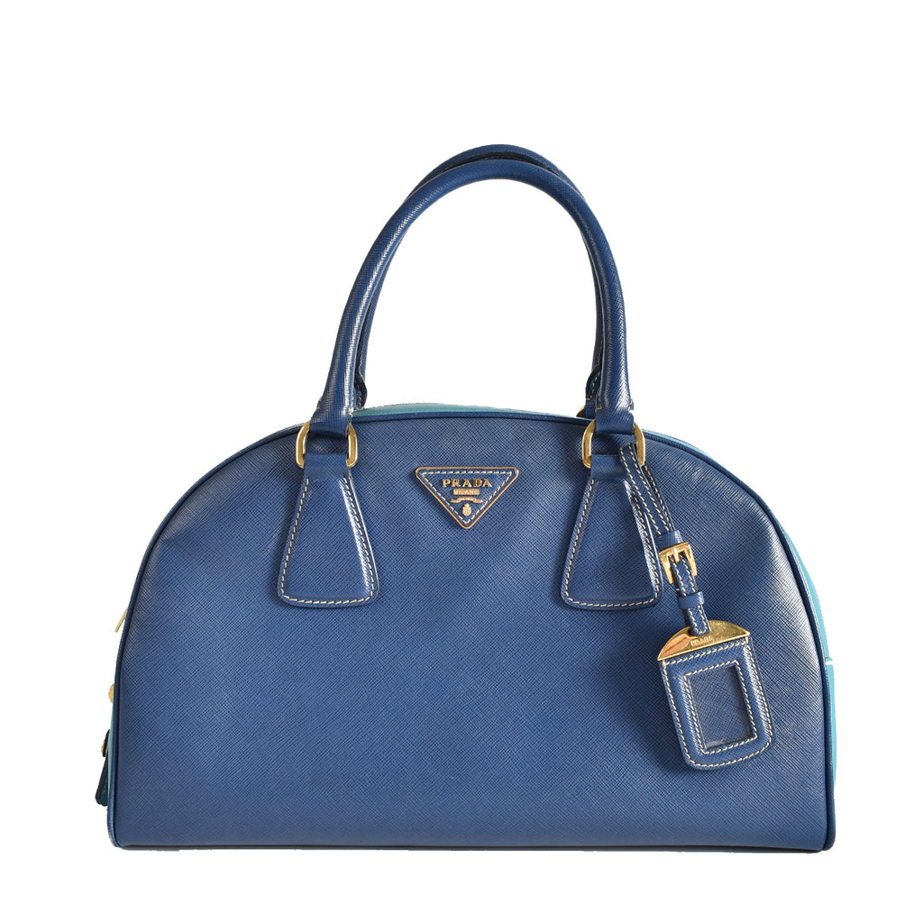 Prada Saffiano Lux Bluette+Turchese Semi Circle Bowling Bag